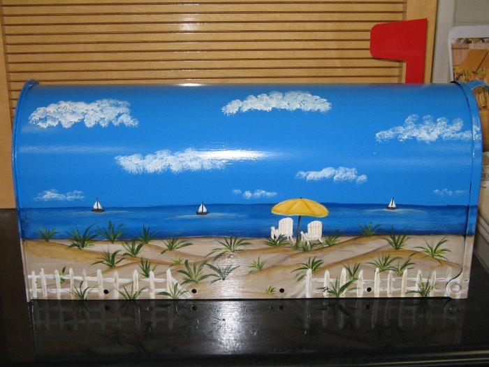 Handpainted Mailbox Hand Painted Mailboxes Beach Scene 03