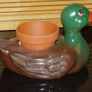 CERAMIC MALLARD DUCK PLANTER HANDPAINTED INDOOR OUTDOOR HANDPAINTED HAND PAINTED