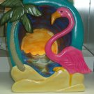 Handpainted Flamingo Silhoutte, Night Light Sunset Scene Hand Painted