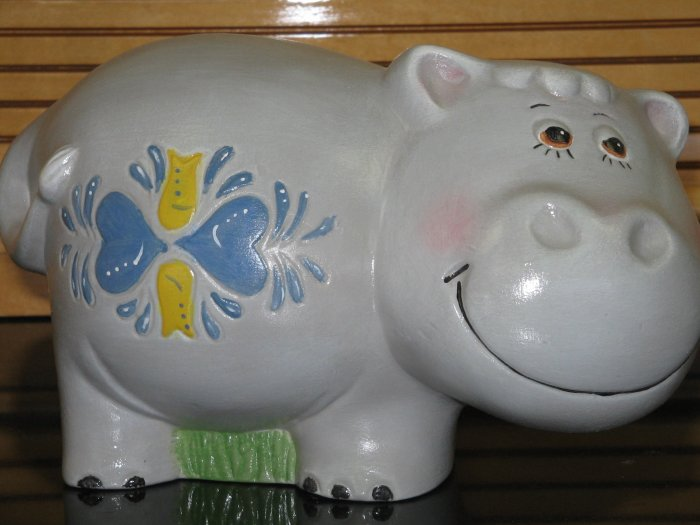 Ceramic Hippo Bank Hand Painted Handcrafted Hippopotamus