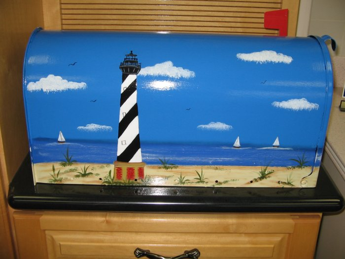Hand Painted Cape Hatteras Design Mailbox Handpainted Mailboxes T2