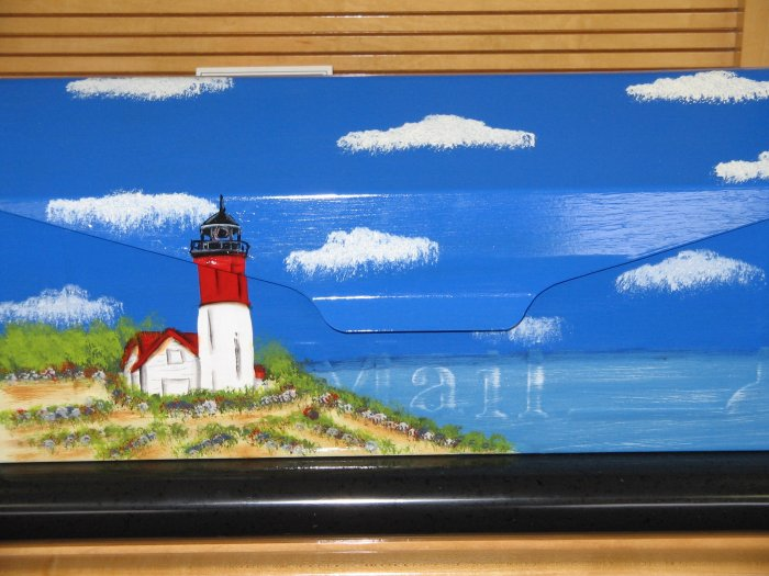 Hand Painted Wall Mount Mailbox  Lighthouse Design