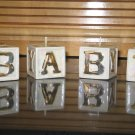 Ceramic Baby Blocks Soy Wax Candle Filled Gold Accents