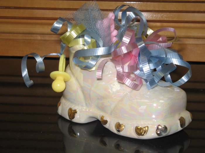 Ceramic Handcrafted Baby Shoe Shower Favor Luster Gold Accent
