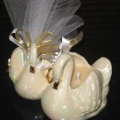 Double Swan Wedding Shower Favor Soy Wax Candle Mint Filled