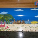 Florida Beach Scene Mailbox Pelicans, Flamingo's Palm Trees