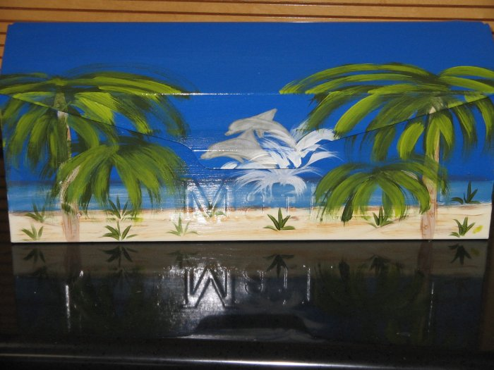 Hand Painted Wall Mount Dolphin Beach Scene Mailbox Mailboxes