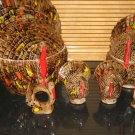 Handcrafted Ceramic Turkey Covered Bowls Napkin Rings Salt Pepper Shakers Thanksgiving