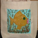 Hand Painted Funky Fish Design Canvas Tote Bag