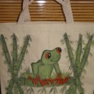 Hand Painted Tree Frog Design Canvas Tote Bag