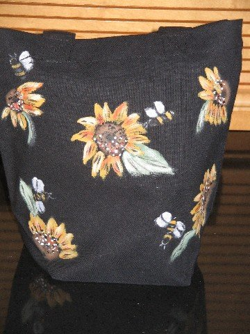 Mini Gift Tote Bag Hand Painted Sunflowers Bees  Cotton