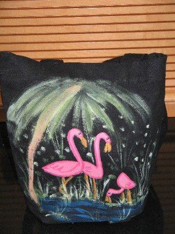 Mini Gift Tote Bag Hand Painted Flamingo Design Cotton