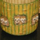 Ceramic Bamboo Look Flower Pot with Owls Hand Painted