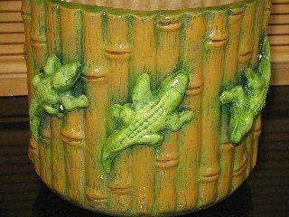 Ceramic Bamboo Look Planter With Alligators