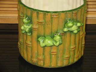 Ceramic Bamboo Look Planter with Frogs