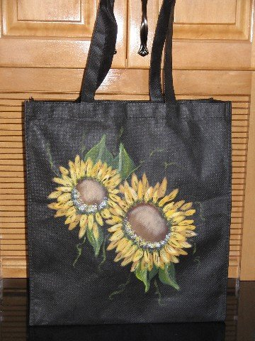 Hand PaintedSunflower Design Grocery Tote Bag Hand Painted Sunflowers