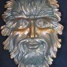 Green Man Ceramic Wall Plaque Hand Painted Metallic Lacquers