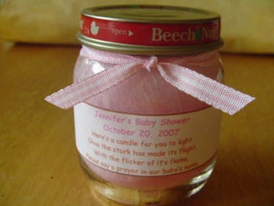 Unique!! Personalized Baby Food Jar Candles - Great Shower Favors