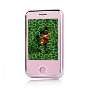 A07 PRO Pink Dual Card Tri Band Touch Screen Cell Phone