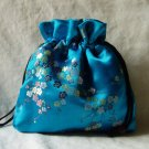 Big Blue Chinese Silk Jewelry bag