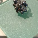 Freshwater cultured pearl and crystal adjustable ring