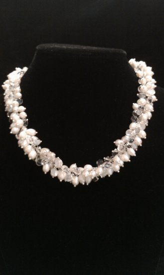 Freshwater cultured pearl and crystal necklace