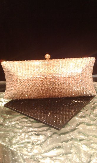 Swarovski crystal handbag evening bag purse 8��wide by 3��by2��