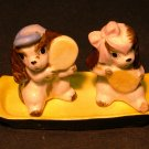 Vintage Dog Salt & Pepper Shakers on Tray - Japan - EC