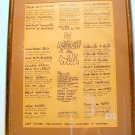 Framed French Menu brought back by soldier after WWII