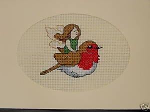 Cross Stitch Greeting Card - Bird on Fairy in Flight