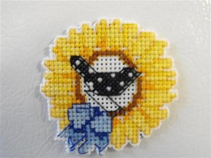 Completed Cross Stitch SunFlower and Bird with Ribbon Magnet