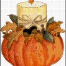 Pumpkin with Lit Candle Cross Stitch Pattern