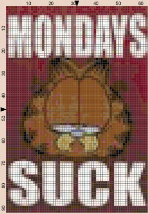 Mondays Suck Cat Cross Stitch Pattern