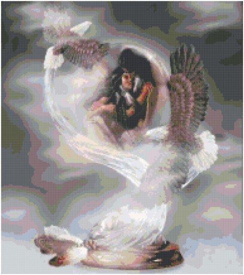Counted Cross Stitch Original Native American Pattern - Love in the Clouds