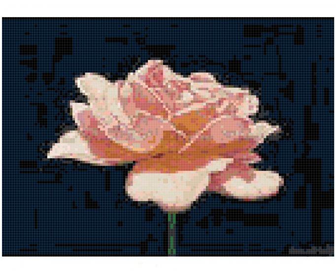 Counted Cross Stitch Original Pattern - Simplicity A Pink Rose