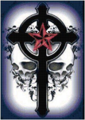 Gothic Cross with Skulls Original Cross Stitch Pattern