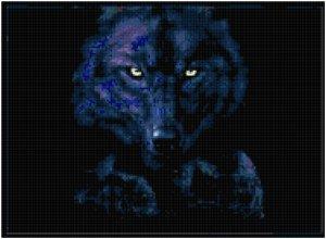 Counted Cross Stitch Pattern - Dark Wolf