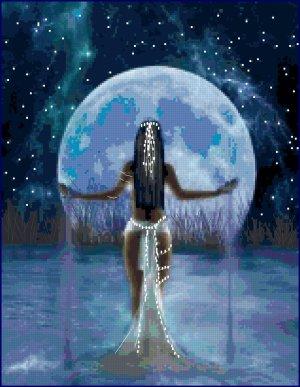 Cross Stitch Original Pattern  Moon Goddess