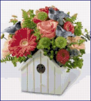 Cross Stitch Pattern - Birdhouse Flower Pot
