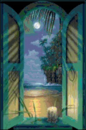 Original Cross Stitch Pattern - Tropical Window