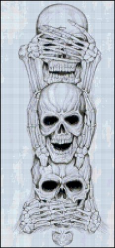 Skulls Doing See No Evil Original Cross Stitch Pattern
