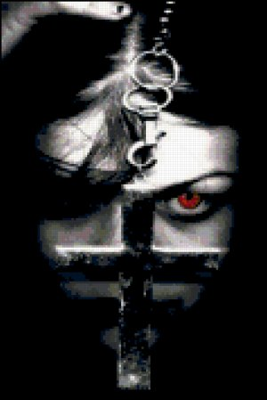 Gothic Girl with Red Eye and Cross Cross Stitch Pattern