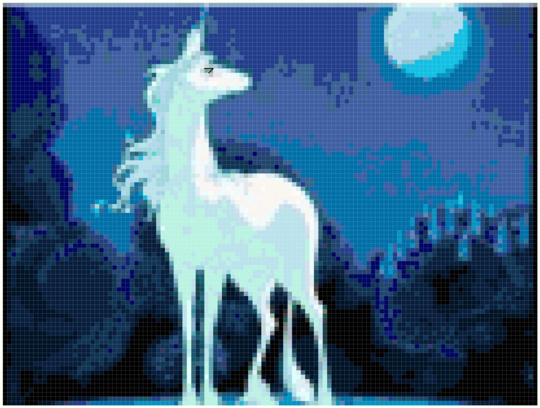 Unicorn and Moon Original Cross Stitch Pattern