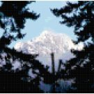 Snowy Mountain top Thru Trees Original Cross Stitch Pattern