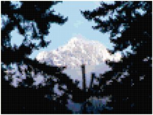 Snowy Mountain top Thru Trees Original Cross Stitch Pattern