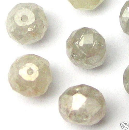 4 WHITE 1/4 carat POLISHED Rough Cut Diamonds Beads