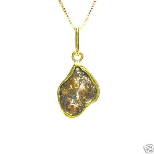 2.30 Carats Raw ROUGH DIAMOND JEWELRY 18K Gold Necklace