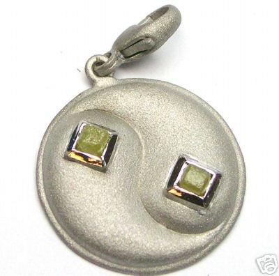 White Gold Charm w/ Rough Cubic Diamond Diamonds