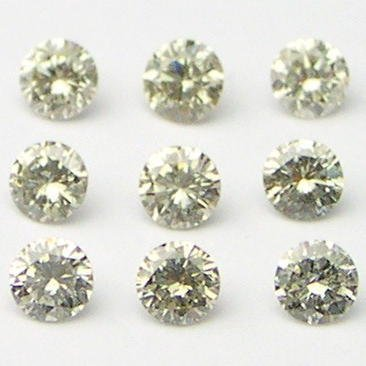 1+ Carats 2mm TOP LIGHT BROWN ROUND POLISHED DIAMONDS