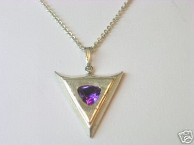 Silver Necklace with 7mm x 7 mm Amethyst Trillion
